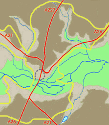 Contour map of Tonbridge