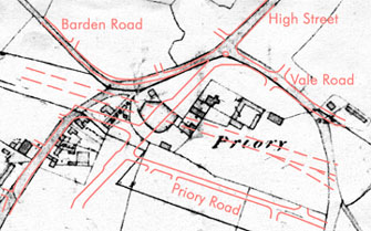 Tithe map of the Priory site